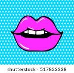 pop art lips isolated. warhol...   Shutterstock .eps vector #517823338
