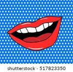 pop art lips. warhol style... | Shutterstock .eps vector #517823350