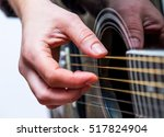 woman hands and black acoustic... | Shutterstock . vector #517824904
