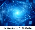 blue glowing cloud computing... | Shutterstock . vector #517832494