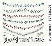 hand drawn christmas decorative ... | Shutterstock .eps vector #517836208