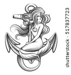 beauty long haired siren... | Shutterstock .eps vector #517837723