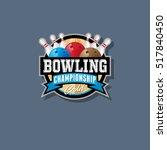 bowling championship emblem.... | Shutterstock .eps vector #517840450