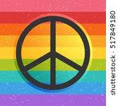 peace symbol on rainbow grunge... | Shutterstock .eps vector #517849180