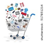 shopping cart with shopping... | Shutterstock .eps vector #517851214