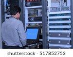 network administrator working... | Shutterstock . vector #517852753