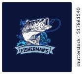 vector vintage fisherman with... | Shutterstock .eps vector #517861540