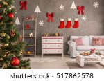 red stockings and christmas... | Shutterstock . vector #517862578