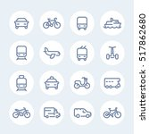 transport line icons in circles | Shutterstock .eps vector #517862680
