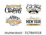 merry christmas   happy new... | Shutterstock .eps vector #517864318