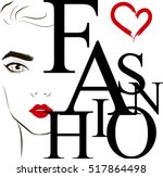 fashion label with the face of... | Shutterstock .eps vector #517864498
