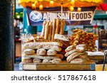 Small photo of Freshly baked breads on display at Borough Market, London