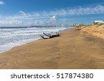 Driftwood Log On Empty Beach...