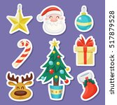 set of cute christmas stickers... | Shutterstock .eps vector #517879528