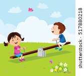 kids riding on seesaw | Shutterstock .eps vector #517880218