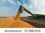 pouring soy bean into tractor... | Shutterstock . vector #517881910