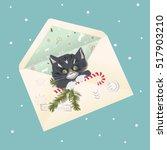 christmas vector envelope with  ... | Shutterstock .eps vector #517903210