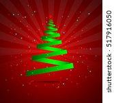 christmas tree green ribbon...   Shutterstock .eps vector #517916050
