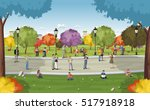 Business people in a park with smart phones and computers. Nature landscape.  | Shutterstock vector #517918918