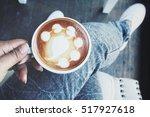 Selfie Of Hand With Latte Art...