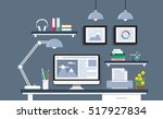 modern desk with computer set ...   Shutterstock .eps vector #517927834