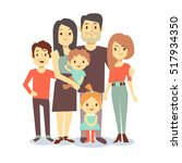 cute cartoon family mom and dad ... | Shutterstock . vector #517934350