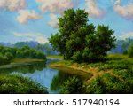 Summer Landscape With River ...