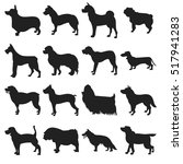 Stock vector collection of dogs silhouette 517941283