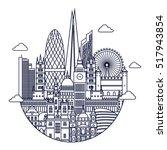 london detailed skyline. travel ... | Shutterstock .eps vector #517943854