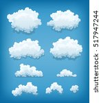 clouds set on blue sky... | Shutterstock .eps vector #517947244