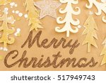 merry christmas card with paper ... | Shutterstock . vector #517949743