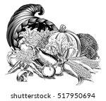 a cornucopia horn of plenty... | Shutterstock .eps vector #517950694