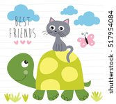 cat and turtle best friends... | Shutterstock .eps vector #517954084