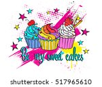 sweet cakes . typography... | Shutterstock .eps vector #517965610
