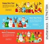 new year web horizontal banners.... | Shutterstock .eps vector #517967584