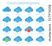 cloud computing icons set....