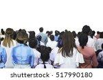 crowd audience on street back... | Shutterstock . vector #517990180