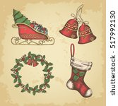 hand drawn vintage christmas... | Shutterstock .eps vector #517992130