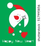 snowman with christmas tree... | Shutterstock .eps vector #517995856