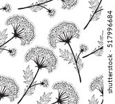 flowers line art pattern  | Shutterstock .eps vector #517996684