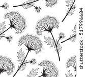 flowers line art pattern  | Shutterstock .eps vector #517996684