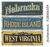 vintage tin sign collection... | Shutterstock .eps vector #518006359