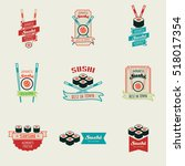 set of sushi bar  logos... | Shutterstock . vector #518017354