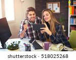 couple of web designers working ... | Shutterstock . vector #518025268