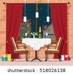romantic winter evening concept.... | Shutterstock .eps vector #518026138