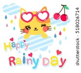 Stock vector cute cat cartoon on the cloud 518026714