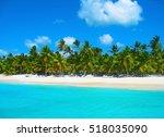 tropical beach in caribbean sea ... | Shutterstock . vector #518035090