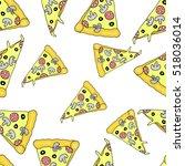 pizza on white background.pizza ... | Shutterstock .eps vector #518036014