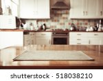blurred kitchen interior and... | Shutterstock . vector #518038210