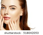beautiful woman skincare... | Shutterstock . vector #518042053